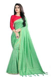 Varni Light Green Checkered Woven Art Silk Saree With Blouse(code - Neemaya-602)