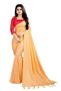 Varni Yellow Checkered Woven Art Silk Saree With Blouse(code - Neemaya-605)