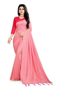 ac1d8b0da Varni Pink Checkered Woven Art Silk Saree with Blouse(Code - Neemaya-606)