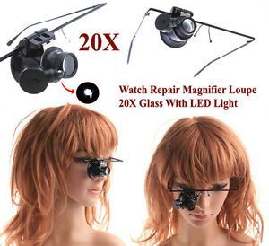 Magnifying Glasses - Watch Repair Magnifier Loupe 20x Glass With LED Light One Glass