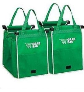 House Warming Gifts - Swarish Set of 2 Durable Reusable Clip to Cart Shopping Bag Grab Carry Bags