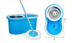 Kitchen cleaning equipments - EASY MOP WITH STEEL SPINNER BUCKET & POLE, FIBER HEAD PLATE, WITH 2 REFILLS