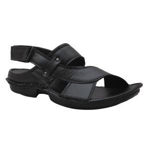 Men's Footwear - Leather Soft Genuine Leather Black Sandals - (Code -LS-551-BK)