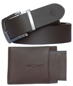 Sondagar Arts Formal Brown Leather Belt, Brown Wallet For Men Combo
