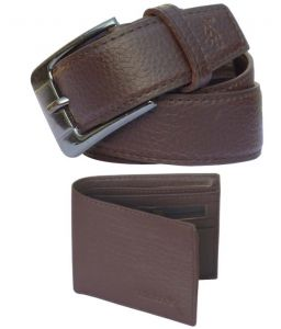 Sondagar Arts Formal Brown Non Leather Belt, Brown Wallet For Men Combo