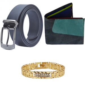 Sondagar Arts Latest Leather Belt Wallet Bracelet Combo Offers For Men