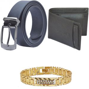 Sondagar Arts Latest Leather Belts Wallet Bracelet Combo Offers For Men