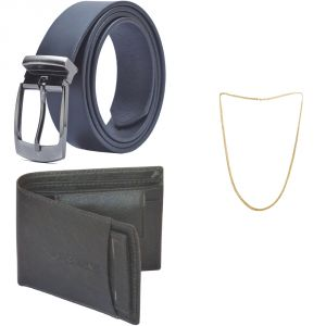 Sondagar Arts Latest Leather Belts Wallet Chain Combo Offers For Men