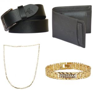 Sondagar Arts Latest Leather Belts Wallet Chain Bracelet Combo Offers For Men
