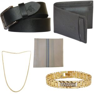 Sondagar Arts Latest Leather Belts Wallet Chainbracelethandkerchief Combo Offers For Men