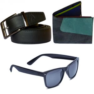 Sondagar Arts Formal Black Belt Wallet Glares Combo Offers For Men