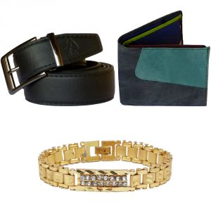 Sondagar Arts Formal Black Belt Wallet Bracelet Combo Offers For Men