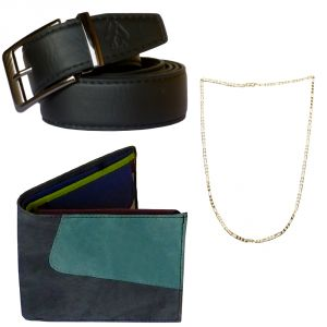 Sondagar Arts Formal Black Belt Wallet Chain Combo Offers For Men