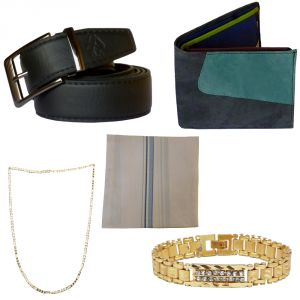 Sondagar Arts Formal Black Belt Wallet Bracelet Chain Handkerchief Combo Offers For Men