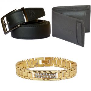 Sondagar Arts Formal Black Belts Wallet Bracelet Combo Offers For Men
