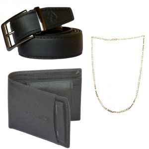 Sondagar Arts Formal Black Belts Wallet Chain Combo Offers For Men