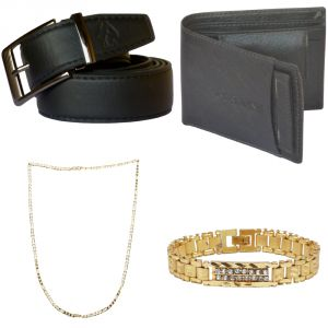 Sondagar Arts Formal Black Belts Wallet Chain Bracelet Combo Offers For Men