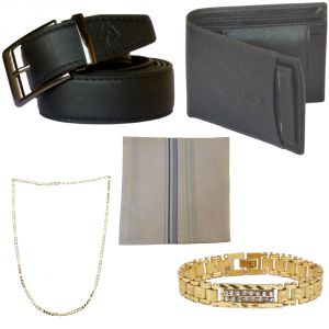 Sondagar Arts Formal Black Belts Wallet Chain Bracelet Handkerchief Combo Offers For Men