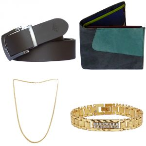 Sondagar Arts Latest Leather Belt Wallet Bracelet Chain Combo Offers For Men