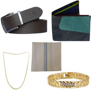 Sondagar Arts Latest Leather Belt Wallet Bracelet Chain Handkerchief Combo Offers For Men