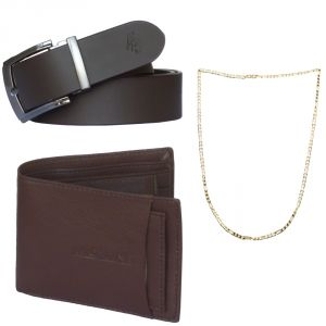 Sondagar Arts Latest Leather Belt Wallet Chain Combo Offers For Men