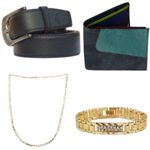 Sondagar Arts Latest Leather Belt Wallet Bracelet Chain Combo Offers For Men