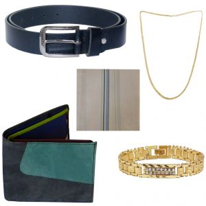 Sondagar Arts Latest Belt Wallet Bracelet Chain Handkerchief Combo Offers For Men