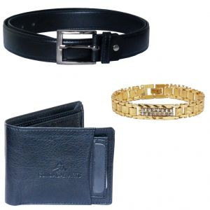 Sondagar Arts Latest  Belt Wallet Bracelet Combo Offers For Men