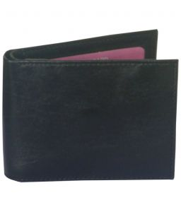 Sondagar Arts Black Tri Fold Mens Leather Wallet