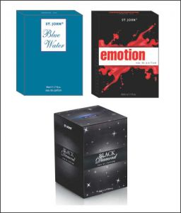 Perfumes - St.John-Vijohn EMOTIONS  & BLUE WATER  & BLACK DIAMOND WITH TASTER-(Code-VJ140)