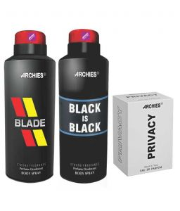 Archies Deo Blade & Black Is Bkack + Perfume Privacy-(code-vj616)