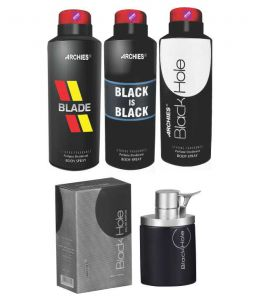 Archies Deo Blade & Black Is Bkack & Black Hole + Perfume Black Hole-(code-vj688)