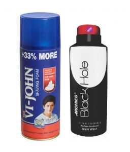 Archies Deo Black Hole & Vijohn Shave Foam 400gm For Hard Skin-(code-vj775)