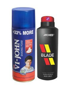 Archies Deodorants - Archies  Deo Black is Black & Vijohn Shave Foam 400GM for Hard Skin-(Code-VJ778)