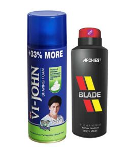 Archies Deo Black Is Black & Vijohn Shave Foam 400gm For Sensitive Skin-(code-vj779)