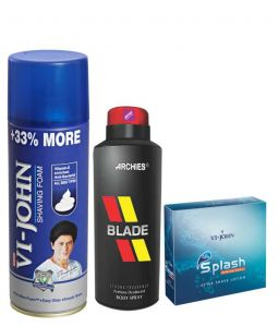 Archies Deo Blade & Vijohn Shave Foam 400gm For All Type Of Skin & After Shave Splash-(code-vj786)