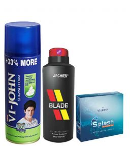Archies Personal Care & Beauty - Archies  Deo Blade & Vijohn Shave Foam 400GM for Sensitive Skin & After Shave Splash-(Code-VJ788)
