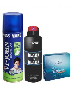 Archies Deo Black Hole & Vijohn Shave Foam 400gm For Sensitive Skin & After Shave Splash-(code-vj791)