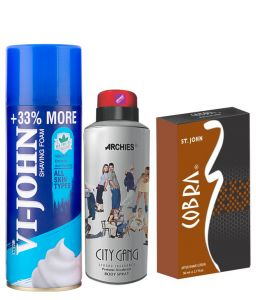Archies Deo City Gang & Vijohn Shave Foam 400gm For All Type Of Skin & After Shave Cobra-(code-vj810)