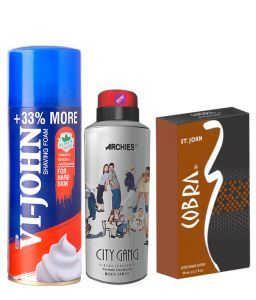 Archies Deo City Gang & Vijohn Shave Foam 400gm For Sensitive Skin & After Shave Cobra-(code-vj812)