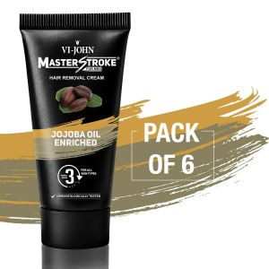 Nike,Maybelline,Kaamastra,Vi John,Rasasi Personal Care & Beauty - Master Stroke Men Hair Removal Cream jojoba 60GM Pack of 6