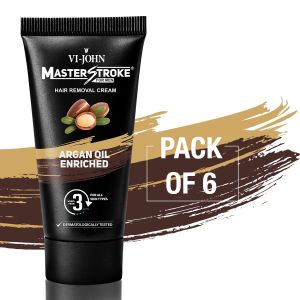 Garnier,Vi John,Maybelline,Dior,Kaamastra Personal Care & Beauty - Master Stroke Men Hair Removal Cream Argan Oil 60GM Pack of 6