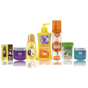 Garnier,Vi John,Neutrogena,Bourjois,Gucci,Calvin Klein,Uni Personal Care & Beauty - Travel Kit For Women(Hair Remover Sandal & Saffron Day/Night Fairness Cream & Suncreen Body Lotion & Almond Hair Oil & Deo Floral Brust & Kajal)