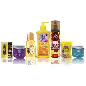 Travel Kit For Women (hair Remover Haldi Chandna & Saffron Day/night Fairness Cream & Sunscreen Body Lotion & Almond Hair Oil & Deo Gold Oud & Kajal)