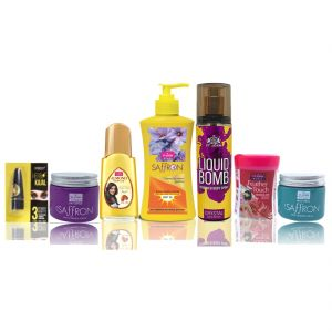 Benetton,Wow,Gucci,Vi John Personal Care & Beauty - Travel Kit For Women (Hair Remover Rose & Saffron Day/Night Fairness Cream & SunScree Body Lotion & Almond Hair Oil Deo Gold Crystal & Kajal)