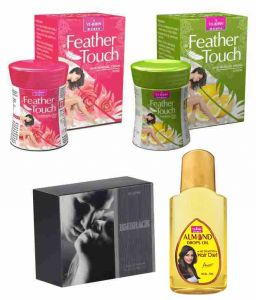 St.john-vijohn Feather Touch Hair Removal Cream (rose & Lime) 40gm & Perfume Embrace 50ml & Almond Hair Oil 50ml-(code-vj478)