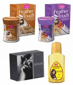 St.john-vijohn Feather Touch Hair Removal Cream (sandal & Honey Saffron) 40gmperfume Embrace 50ml & Almond Hair Oil 50ml-(code-vj483)