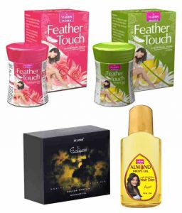 St.john-vijohn Feather Touch Hair Removal Cream (rose & Lime) 40gm & Perfume Eclips 50ml & Almond Hair Oil 50ml-(code-vj484)