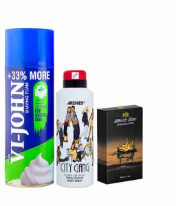 Archies Deo City Gang & Vijohn Shave Foam 400gm For Sensitive Skin & After Shave Black Sea-(code-vj797)