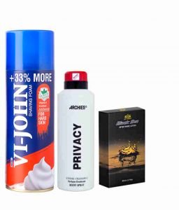 Nova,Elizabeth Arden,Bourjois,Kaamastra,Archies,Indrani,Globus,Davidoff Personal Care & Beauty - Archies  Deo Privacy & Vijohn Shave Foam 400GM for Hard Skin & After Shave Black Sea-(Code-VJ799)